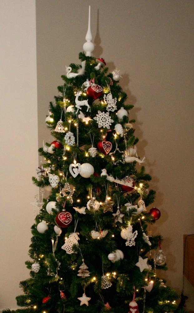kerstboom wit rood